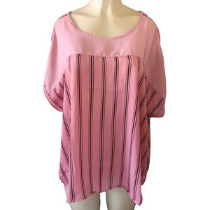 Tops - Cute flowing Pink Pin Striped Casual Blouse Plus +